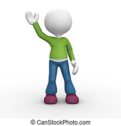 3d people - man, person raise one's hand for greeting.