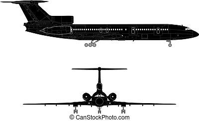 hi-detail, silhouette, straalvliegtuig