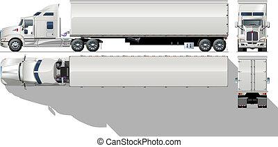 hi-detailed, comercial, semi- camión