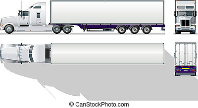hi-detailed, gewerblich, halb-lastwagen