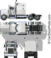 hi-detailed semi-truck Available EPS-10 separated by groups and layers for easy edit