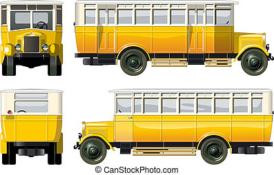 hi-detailed vintage city bus 30-s. Available EPS-10 vector format separated by groups and layers for easy edit