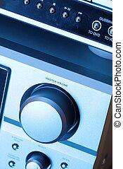 Hi-fi - detail of a hi-fi system in blue tone