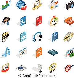 Hi-fi icons set, isometric style