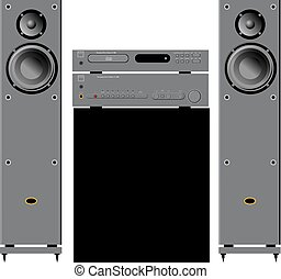 Hi-Fi kit. Vector illustration of Audio and home theater components