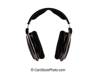 Hi-fi musical headphones isolated on white