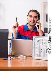 hi-fi, riparare, musicale, giovane, ingegnere, sistema