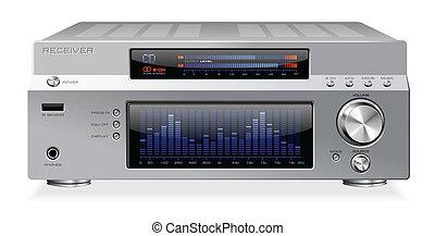 hi-fi, segnale, audio, ricevitore, amplifi