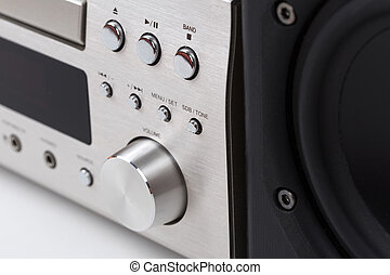 Hi-Fi stereo system musical player over white