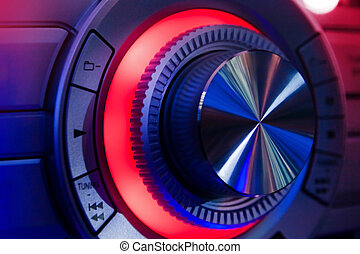 Hi-Fi Stereo wheel with blue and red neon lights