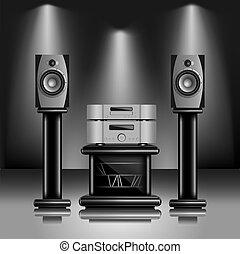 hi-fi, suono, audio, sistema