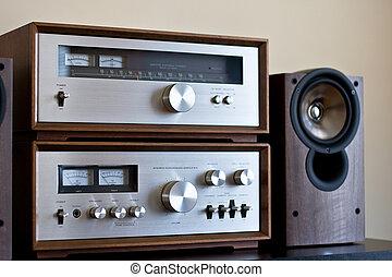 hi-fi, vendemmia, stereo, analogico