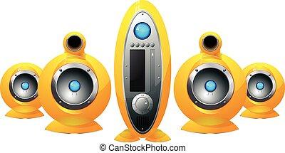 Hi-Fi  yellow speakers system