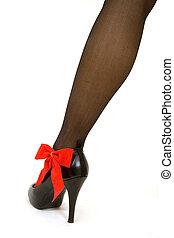 Hi heels, with bow.