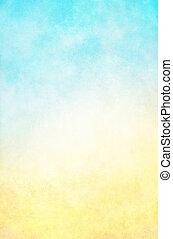 hi-key, 황색, 푸른 배경