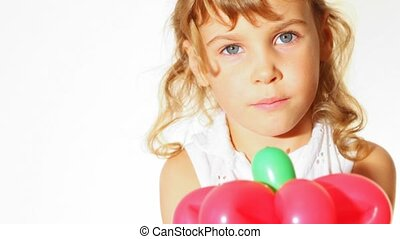hi key portrait of little girl with balloon flower white background
