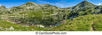 Hi-res panorama of Bucura lake in Retezat Mountains, Romania, Europe