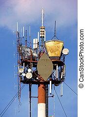 hi-tec, comunicación, luces, mástil, pico, antenas