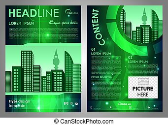 hi-tech, レポート, フライヤ, 企業である, 年報, カバー, ビジネス, バックグラウンド。, ベクトル, デザイン, パンフレット, 緑, プレゼンテーション