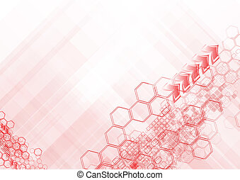 Hi-tech abstract backdrop - Red geometrical elements on...