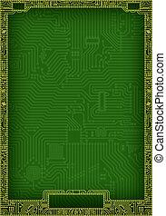 Hi-tech abstract circuit board blank frame - Hi-tech dark...