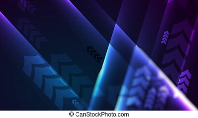 Hi-tech abstract glowing neon motion background with arrows. Futuristic retro design. Video animation Ultra HD 4K 3840x2160