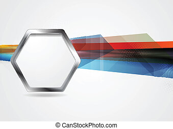 Hi-tech background with metal hexagon shape