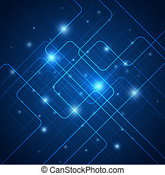 Hi-tech blue abstract vector background with light