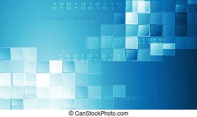 Hi-tech blue abstract video animation with squares and...