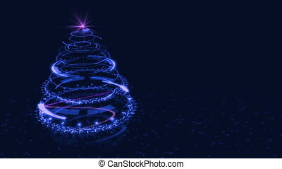 Hi-tech Blue Christmas Tree Backdrop. Seamless Loop Abstract Animation.