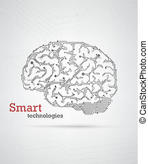 Hi-tech brain - Black and white technology background with a...