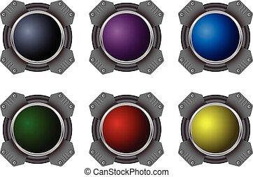 Hi-tech buttons - Colorful hi-tech buttons vector set
