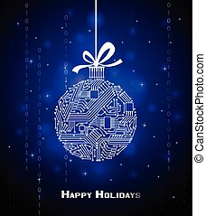 Hi-tech Christmas ball on green background, from a digital electronic circuit