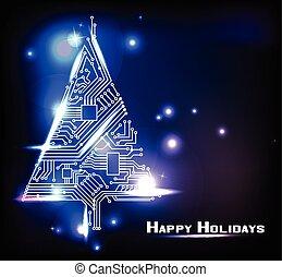Hi-tech Christmas tree from a digital electronic circuit