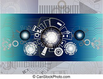 Hi-tech digital telecoms technology concept on circuit board with gear.