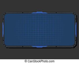 Hi-tech Display - Vector Hi-tech display with pale blue grid
