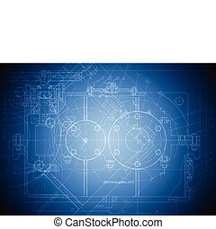 The engineering drawing of a reducer on blue background. Eps 10 vector