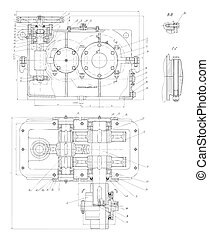 Hi-tech engineering drawing - The engineering drawing of a ...