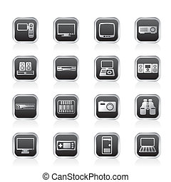 Hi-tech equipment icons - vector icon set 2