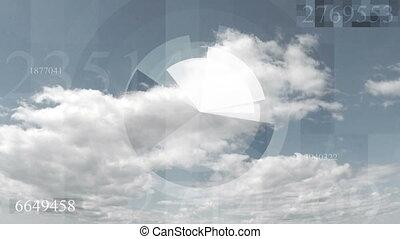 Hi-tech futuristic video animation with sky cloudscape...