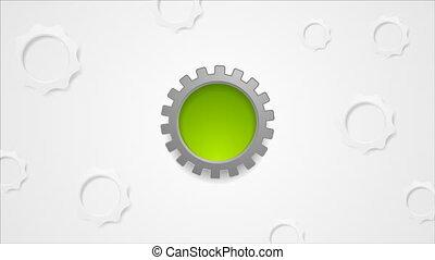 Hi-tech gears rotation video animation - Hi-tech gears...