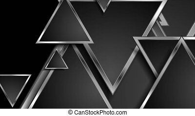 Hi-tech geometric abstract motion background with silver triangles