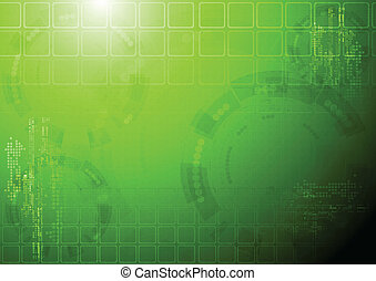 Hi-tech green background - Vector design. Tech background....