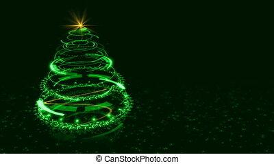 Hi-tech Green Christmas Tree Backdrop. Seamless Loop Abstract Animation.