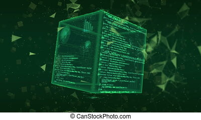 Hi-tech Green Digital Cube Background. - Looping shots of...