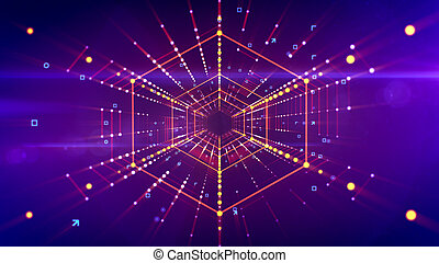 A fantastic 3d illustration of a straight hexagonal neon tunnel placed in the bright violet background with lines of sparkling spots. It has connected red structures and looks like a future time pipe.