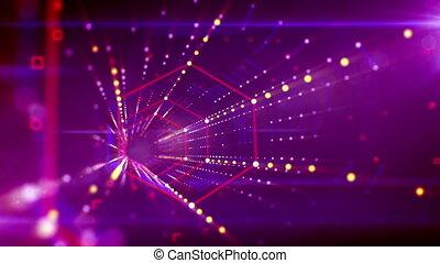 """Hi-tech hexagonal neon tunnel flying"" - ""A fantastic 3d..."