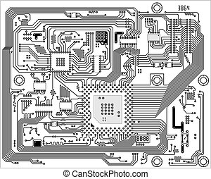 Hi-tech black and white industrial electronic vector background