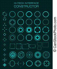 hi-tech, interface, constructor., ontwerp onderdelen, voor, hud, gebruikersinterface, animatie, motie, design.
