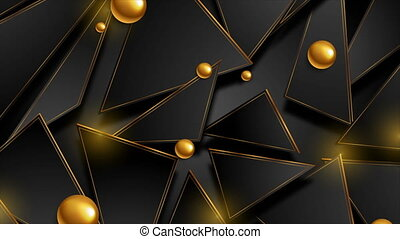 Golden and black abstract hi-tech low poly motion background with glossy spheres. Seamless looping. Video animation Ultra HD 4K 3840x2160